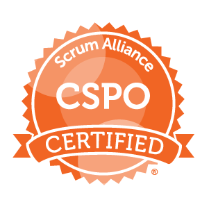 Certified Scrum Product Owner (CSPO) badge - also a Certified Scrum Master (CSM)